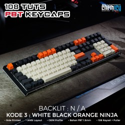 Keycaps White Black Orange Ninja 108 Tuts PBT OEM
