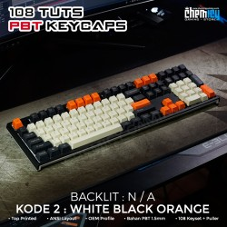 Keycaps White Black Orange 108 Tuts PBT OEM