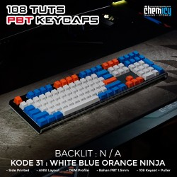 Keycaps White Blue Orange Ninja 108 Tuts PBT OEM