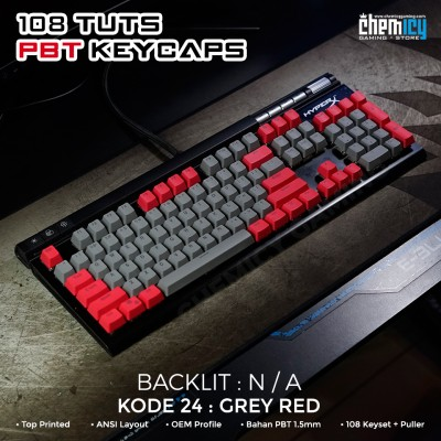 Keycaps Grey Red 108 Tuts PBT OEM