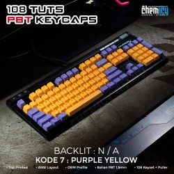 Keycaps Purple Yellow 108 Tuts PBT OEM