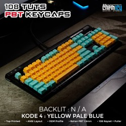 Keycaps Yellow Pale Blue 108 Tuts PBT OEM