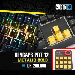 Keycaps Backlit Metallic 12 Tuts - Gold