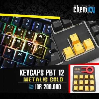 Keycaps Backlit Metallic 12 Tuts - Gold