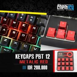 Keycaps Backlit Metallic 12 Tuts - Red