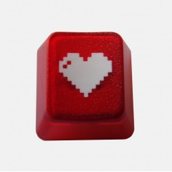 KeyPop Translucent Red 8-bit Heart Keycap