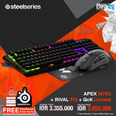 Promo Steelseries Apex M750 + Rival 310 + QcK Limited