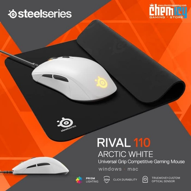 acf324ac31b Promo Steelseries Rival 110 Arctic White + QcK Mini