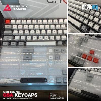 Paradox GSA Keycaps - White Grey Red